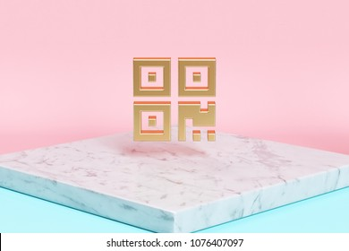 Golden Qrcode Icon on the Candy Background . 3D Illustration of Golden Barcode, Code, Qr, Qrcode, Quick Response, Scan Icons on Pink and Blue Color With White Marble.
