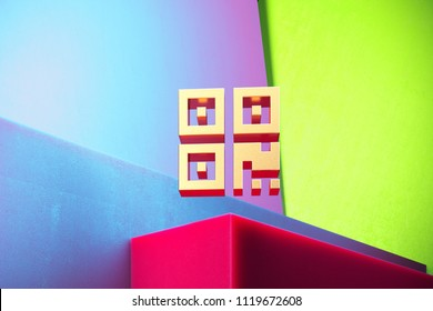 Golden Qrcode Icon on the Green and Violet Geometric Background. 3D Illustration of Gold Barcode, Code, Qr, Qrcode, Quick Response, Scan Icon Set With Installation of Color Boxes.