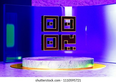 Golden Qrcode Icon on the Marble and Blue Glass. 3D Illustration of Golden Barcode, Code, Qr, Qrcode, Quick Response, Scan Icon Set in the Blue Installation.
