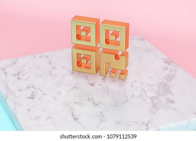 Golden Qrcode Icon on Pink and Light Blue Color Background . 3D Illustration of Golden Barcode, Code, Qr, Qrcode, Quick Response, Scan Icon Set on White Marble.