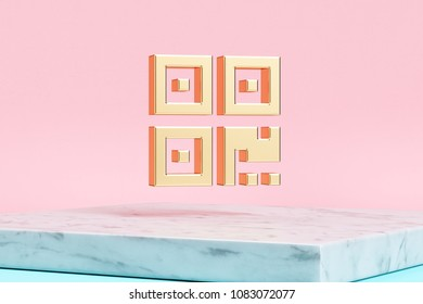 Golden Qrcode Icon on Pink Background . 3D Illustration of Golden Barcode, Code, Qr, Qrcode, Quick Response, Scan Icons on Pink Color With White Marble.