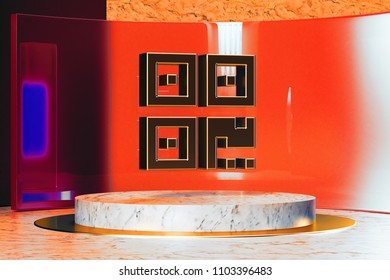 Golden Qrcode Icon on White Marble and Red Glass. 3D Illustration of Stylish Golden Barcode, Code, Qr, Qrcode, Quick Response, Scan Icon Set in the Red Installation.