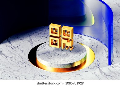Golden Qrcode Symbol on the White Marble and Blue Glass Around. 3D Illustration of Golden Barcode, Code, Qr, Qrcode, Quick Response, Scan Icon Set With Blue Glass.