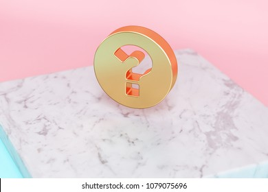 Golden Question Circle Icon on Pink and Light Blue Color Background . 3D Illustration of Golden Circle, Help, Info, Information, Question Icon Set on White Marble.