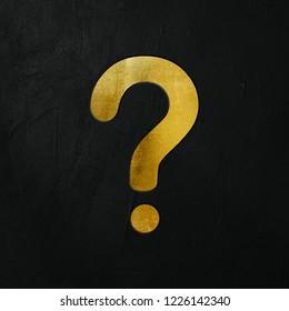 Golden Question Mark Icon Write On The Dark Wall Background. Golden Question Mark Icon. 3D İllustration.