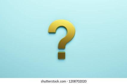 Golden Question Mark Isolated. 3D Render illustration