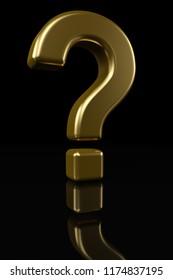 Golden question mark sign on black background 3D illustration.