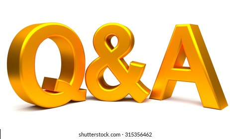 Golden questions and answers 3D concept text isolated on white background.  Rendered illustration.