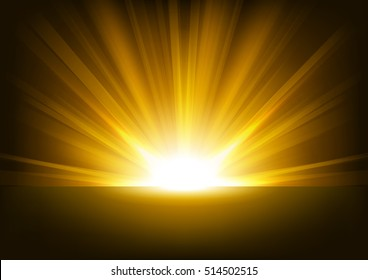 Golden Rays rising on dark background