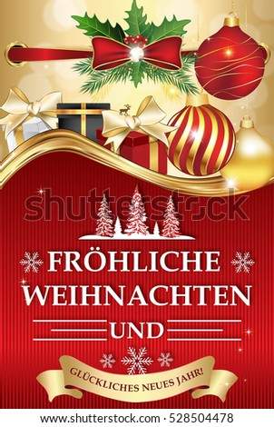 golden red greeting card for winter season with text in german language merry christmas and
