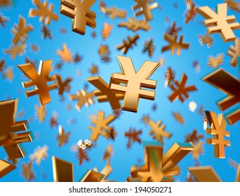 Golden renminbi signs falling on the blue background.