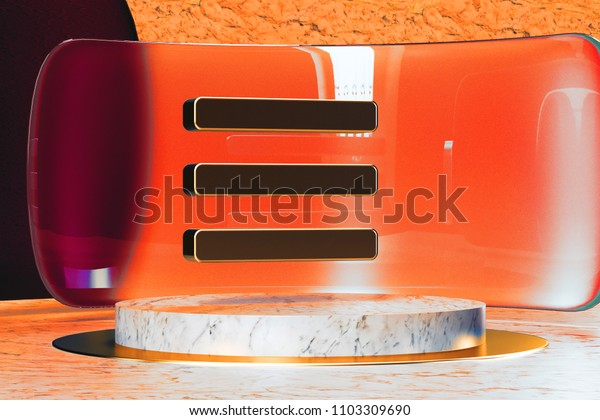 Golden Reorder Icon on White Marble and Red Glass. 3D Illustration of Stylish Golden Bars, Drawer, Hamburger, Menu Icon Set in the Red Installation.