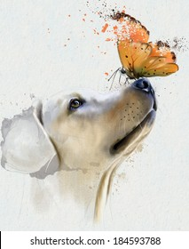Golden retriever dog with butterfly