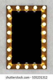 Golden retro makeup mirror on concrete wall. 3D rendering