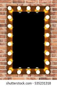 Golden retro makeup mirror on brick wall. 3D rendering