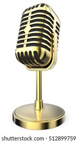 Golden Retro Microphone. 3D render of retro Golden Microphone on flip stand. Non branded.