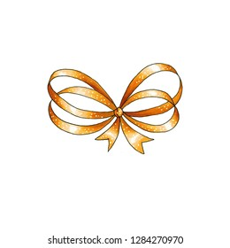 Golden Ribbon knot handdrawn raster illustration. Realistic gold gift bow drawing. Bowknot clipart. Cartoon bow-tie. Isolated color hairpin. Doodle hair accessory. Banner, greeting card design element