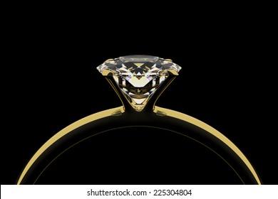 Golden ring with diamond. Dark key.