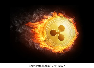 Golden ripple coin flying in fire flame. Blockchain token grows in price on stock market concept. Burning crypto currency ripple symbol illustration isolated on black background.