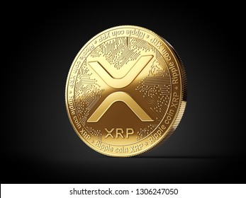 Golden Ripple XRP cryptocurrency coin isolated on black background. 3D rendering