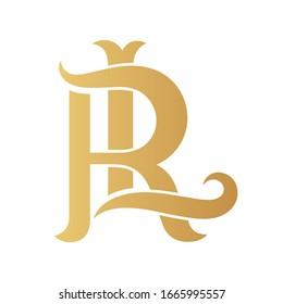 Golden RL monogram isolated in white.