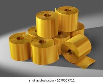 golden Rolls of toilet tissue, Germans white gold of Corona crisis, 3d illustration