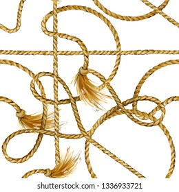golden rope seamless tied fishnet background. marine cordage pattern.