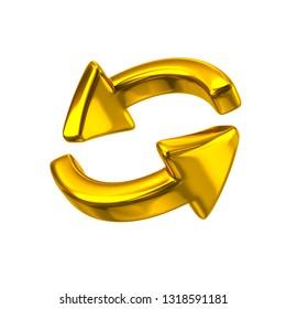 Golden rotation arrows icon 3d illustration on white background