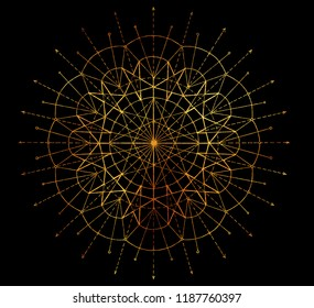 Golden round circle pattern on black background. Esoteric, occult, new age and wicca concept, fantasy pattern with mystic symbols and sacred geometry