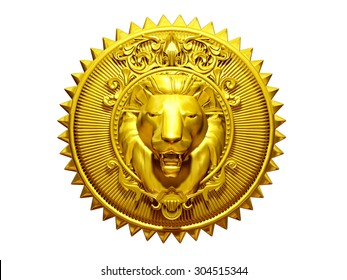 golden, round, ornamental Emblem or sign, with Lion in the center