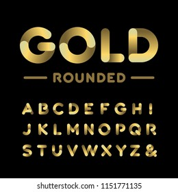 Golden rounded font. Alphabet with gold effect letters.
