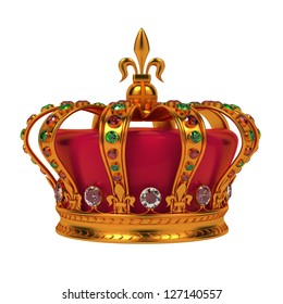 Golden Royal Crown Isolated on White Background.