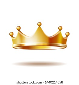 Golden royal crown isolated on white background. 3D  illustration