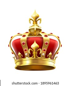 Golden royal crown with jewels. Heraldic elements, monarchic symbol for king. Monarchy accessory with red stones. Royalty luxury element for coronation isolated on white  illustration