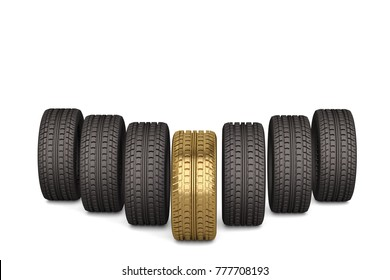 Golden and rubber tires on white background.3D illustration.