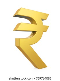 Golden Rupee Currency Icon Isolated. 3D rendering