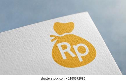 Golden Rupiah Money Bag 3D Illustration Symbol Write On The Paper. Rupiah Money Bag Logo On The Paper. Rupiah Money Bag Logo. 3D Rendering.