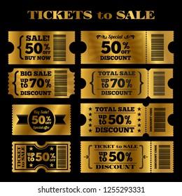 Golden sale tickets set. tickets to sale