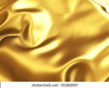 Golden satin wavy texture background. 3d render illustration