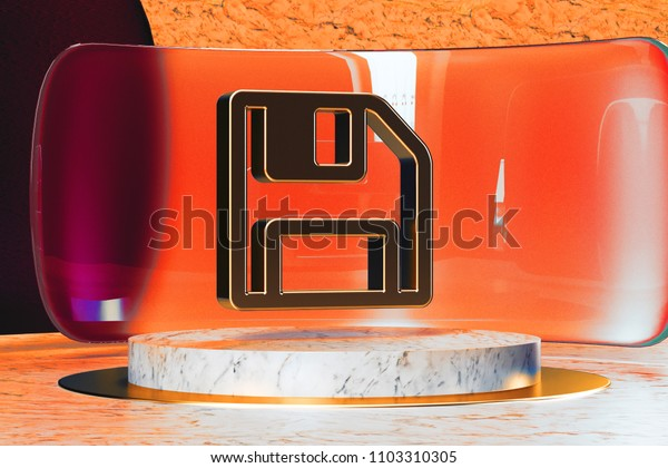 Golden Save Icon on White Marble and Red Glass. 3D Illustration of Stylish Golden Floppy Disk, Storage, Disk, Drive Icon Set in the Red Installation.