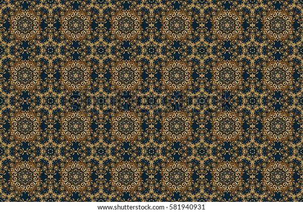 Golden seamless pattern on a blue background. Raster luxury gold pattern.