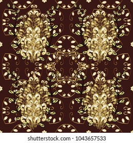 Golden seamless pattern on brown, yellow and beige colors with golden elements. Seamless damask classic golden pattern. Abstract background with repeating elements.