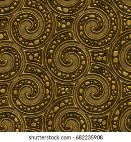 Golden seamless texture with a relief pattern on background, 3d illustration