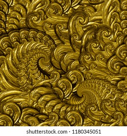 Golden seamless texture with a swirls pattern on background, 3d illustration