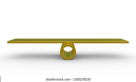 Golden seesaw concept isolated on white background. Made with 3d rendering...