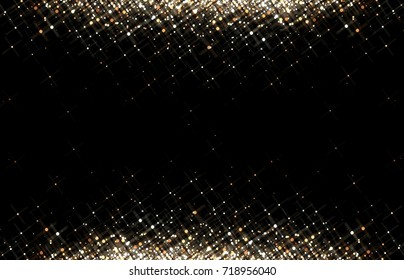 Golden sequins glitter on black background. Shimmer pattern. Festive trend.