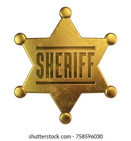 Golden sheriff badge isolated on white background 3d rendering