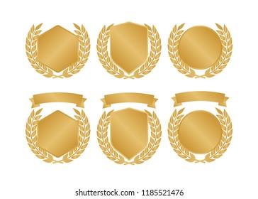 Golden shields laurel badges collection. Gold medal illustration.