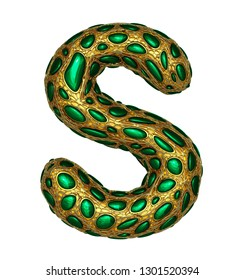 Golden shining metallic 3D with green glass symbol capital letter S - uppercase isolated on white. 3d rendering