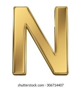 Golden shining metallic 3D symbol letter N - isolated on white